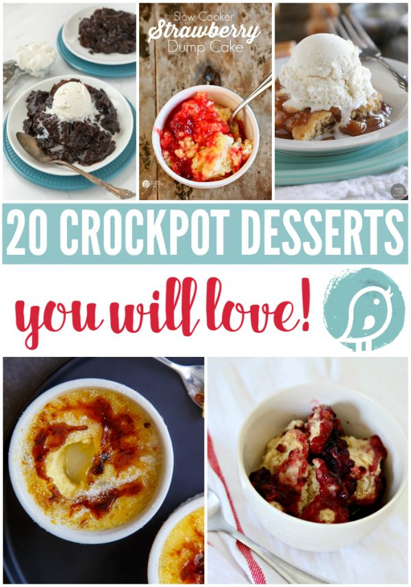 20 Crock Pot Desserts you will love! Find slow cooker desserts from my favorite bloggers. Click the photo to see more.