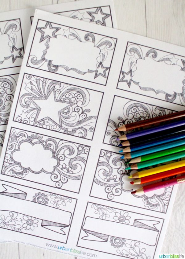 Printable Kids\' Coloring Labels | Today\'s Creative Life