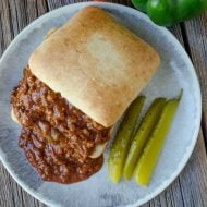 Slow Cooker Sloppy Joes served on ciabatta rolls
