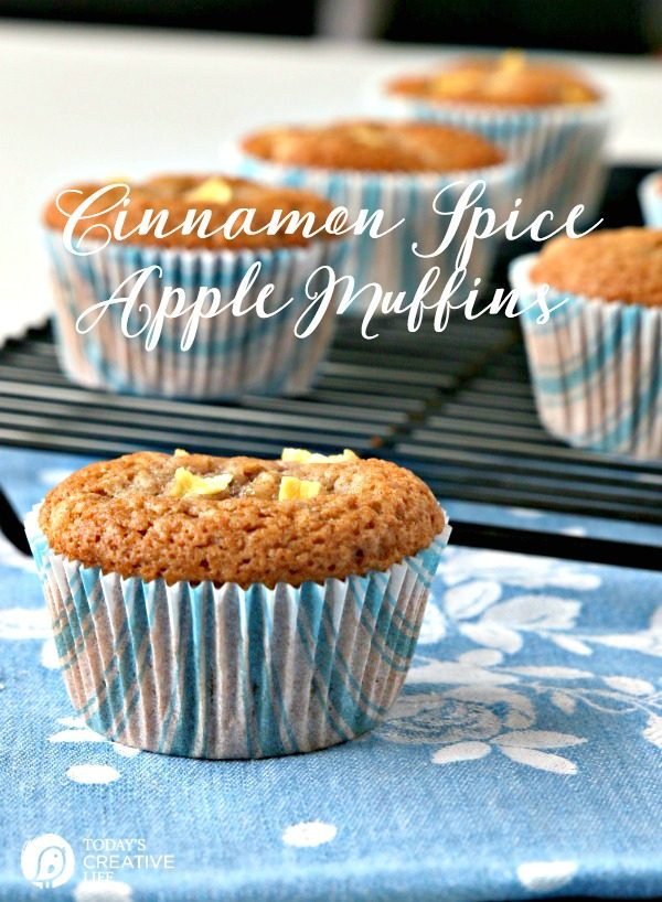 Apple Muffins | Whip up a batch of these Cinnamon Spice Apple Muffins for breakfast or a snack! Easy to make. Freeze the extras. Click the photo for the recipe. TodaysCreativeLife.com