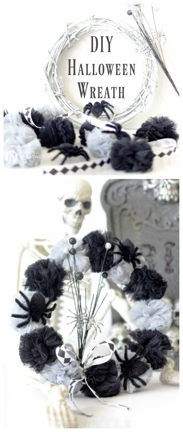 DIY Creative Halloween Decorations | Here's a tutorial for a fun halloween wreath. Click the photo for instructions. Today's Creative Life