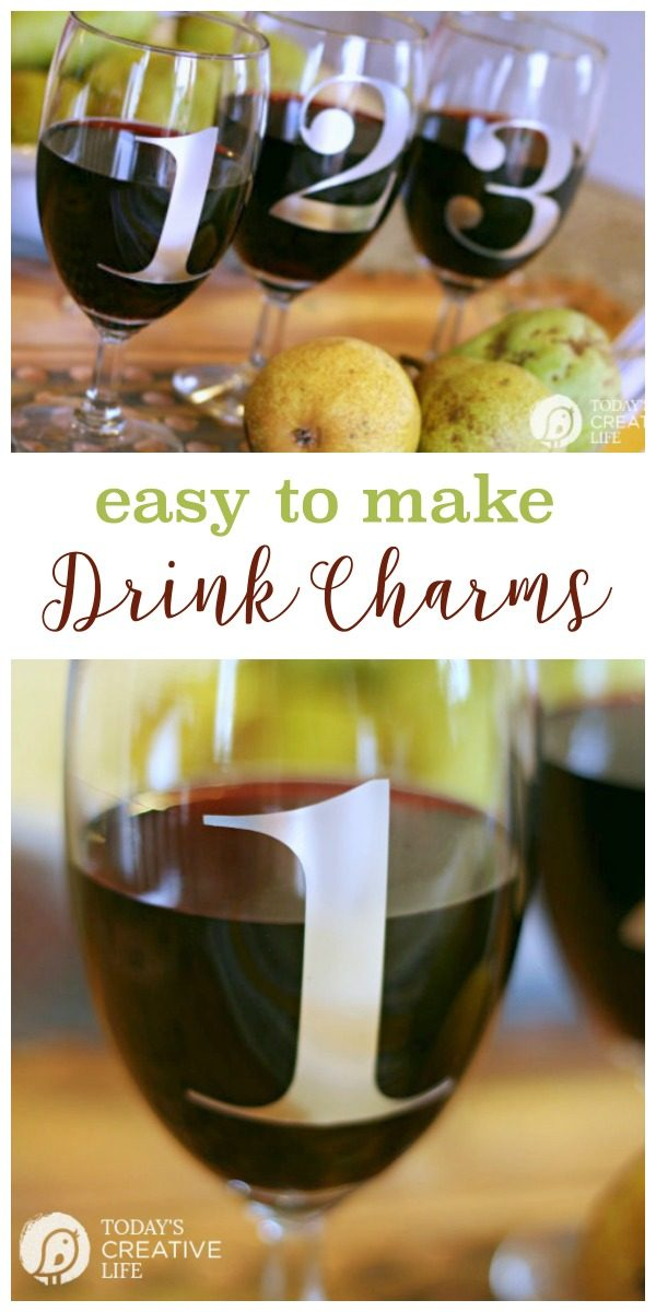 Diy Drink and Wine Charms \ Make your own wine glass charms using your Cricut Explore. Easy DIY Craft. Click the photo for more. Today's Creative Life