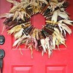 DIY Indian Corn Wreath Fall Porch   DIY Fall Wreath Tutorial found on TodaysCreativeLife.com