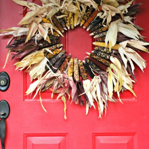 DIY Indian Corn Wreath Fall Porch | DIY Fall Wreath Tutorial found on TodaysCreativeLife.com