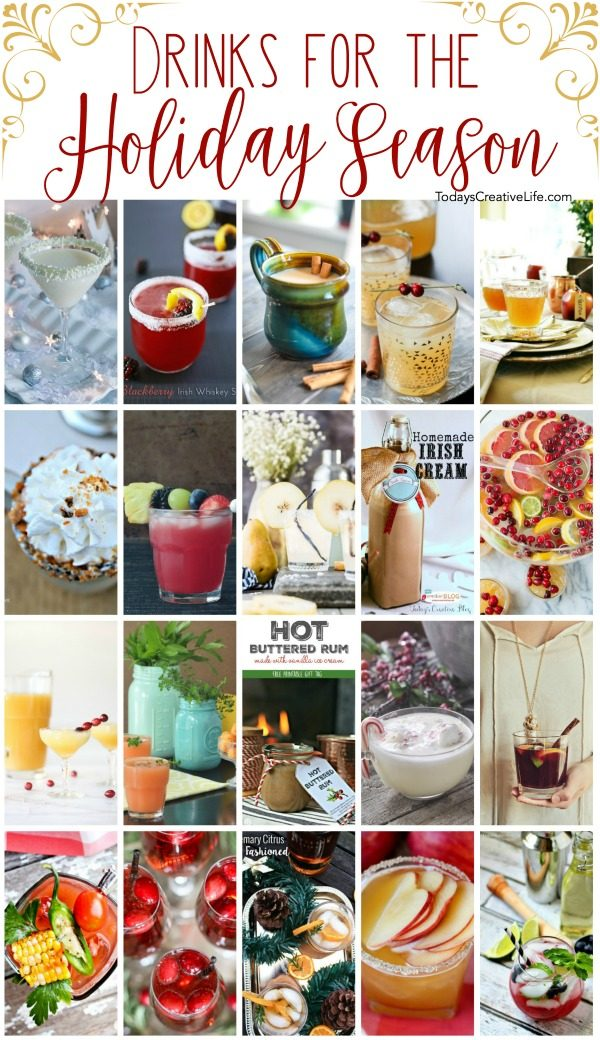 Drink Recipes for the Holiday Season | Find holiday cocktails and drinks as well as over 100 ideas for diy gifts, holiday decor, Holiday homemade goodies, and more! TodaysCreativeLife.com