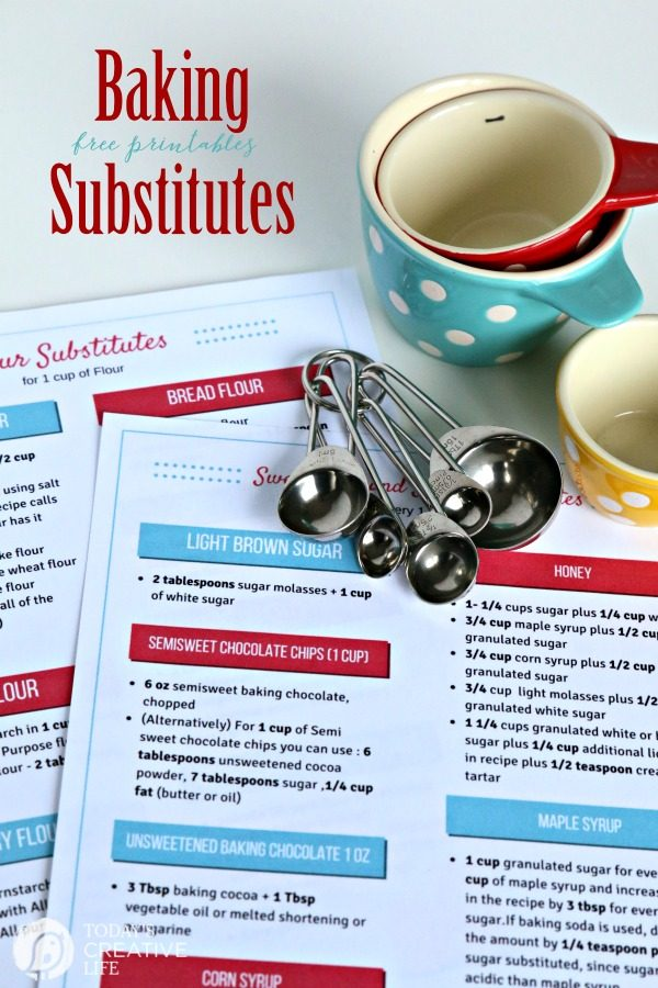 Free Printable Baking Substitutes | Here's your list for flour substitutes, sugar and sweetener substitutes. Find a substitute for corn syrup, brown sugar, honey and more. Grab your free copy by clicking on the photo. TodaysCreativeLife.com