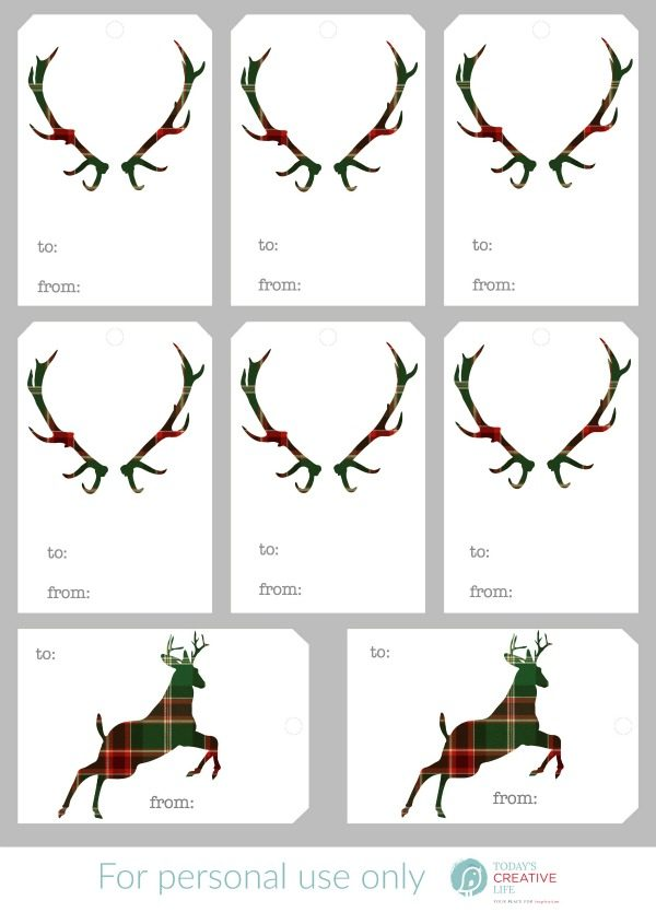 Free Christmas Tags | Free Printable Holiday Gift Tags. Plaid deer, silhouette deer and more! Get yours on TodaysCreativeLife.com