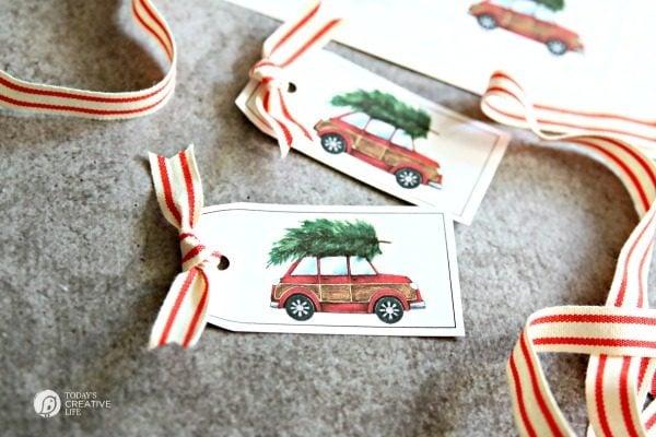 DIY Christmas Red Car Holiday Tags | TodaysCreativeLife.com