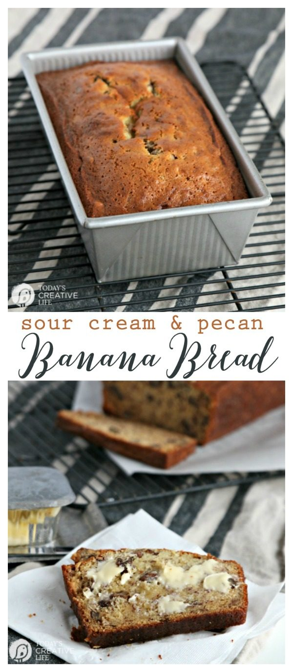 homemade banana bread with sour cream and pecans