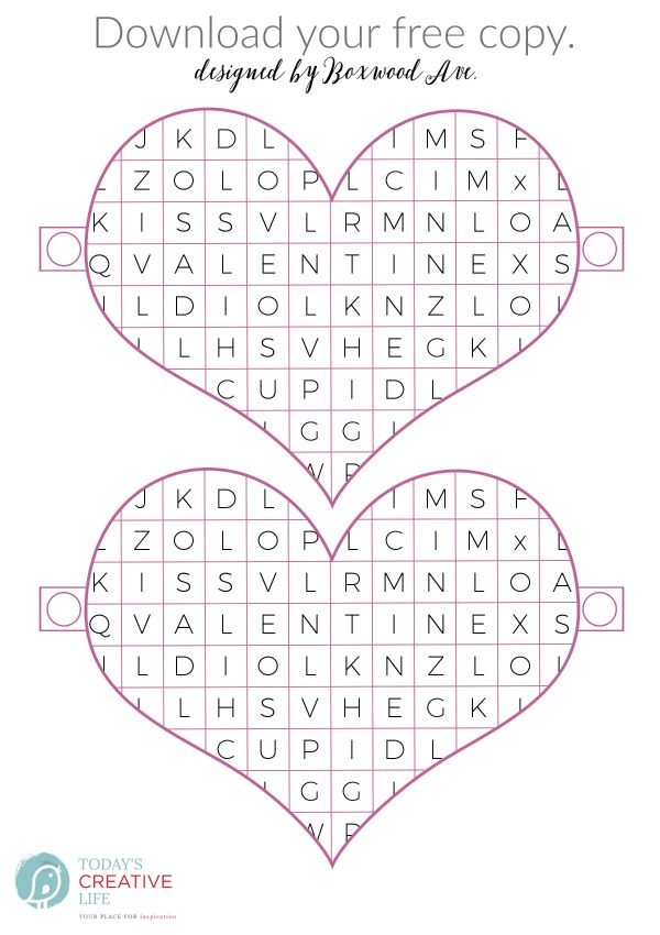 Valentine Word Search Printable | Free printable Valentine's Day ideas great for the classroom. Non-food ideas for Valentines. Download your free copy on TodaysCreativeLIfe.com Click the photo to visit.
