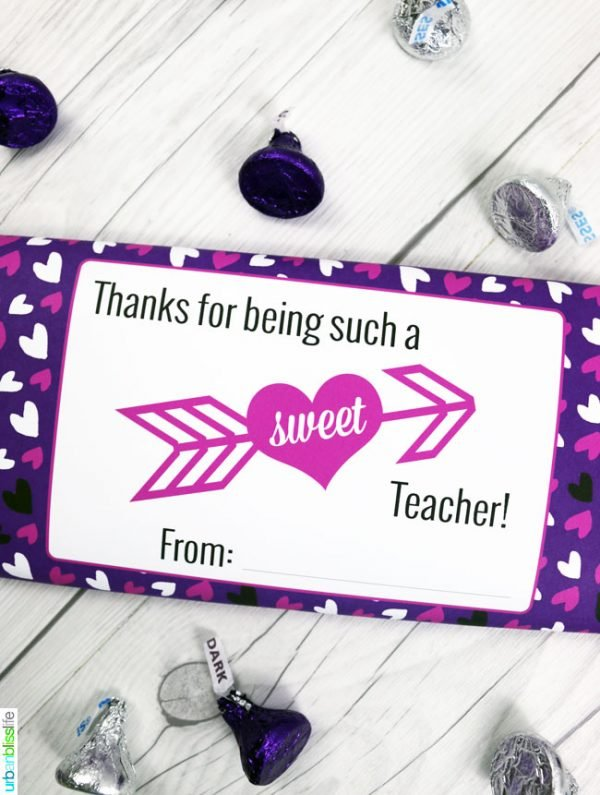 graphic about Printable Valentine Card for Teacher referred to as Valentines Sweet Bar Wrappers Free of charge Printable Todays