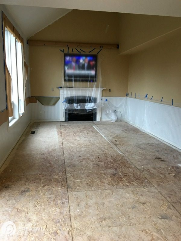 tiled family room before hardwood floor installation