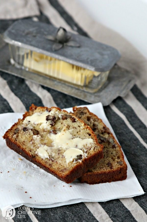 buttered slices of banana bread made with sour cream