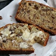 slices of a banana bread recipe with sour cream and pecans