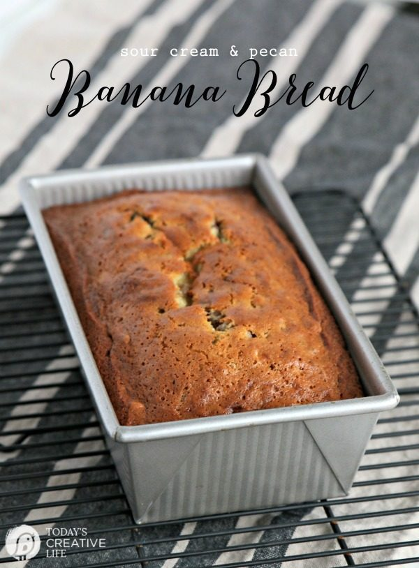 loaf of banana bread recipe made with sour cream