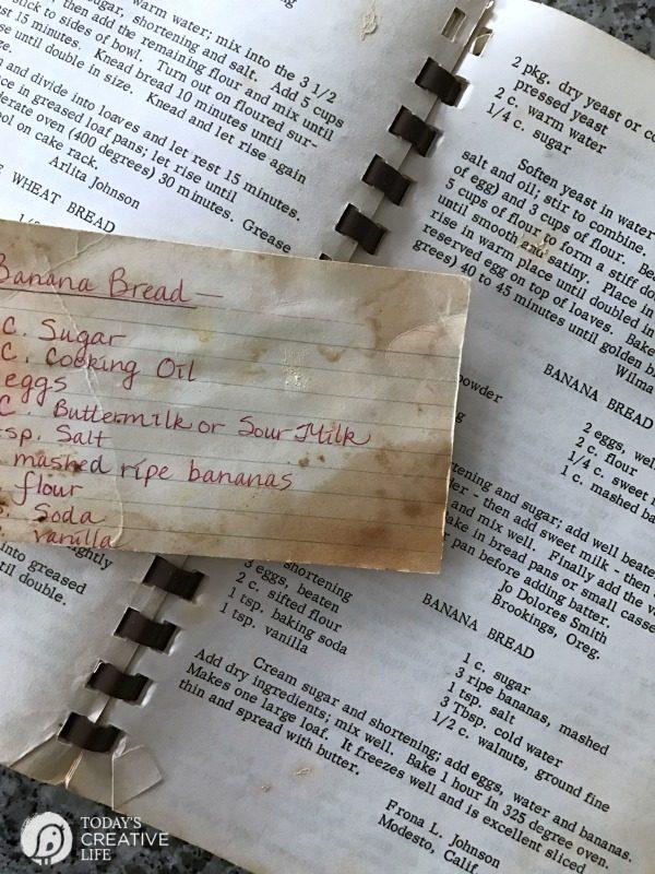 banana bread recipe with sour cream (shown in a cookbook)