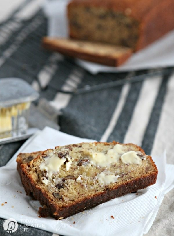 slice of moist banana bread with butter