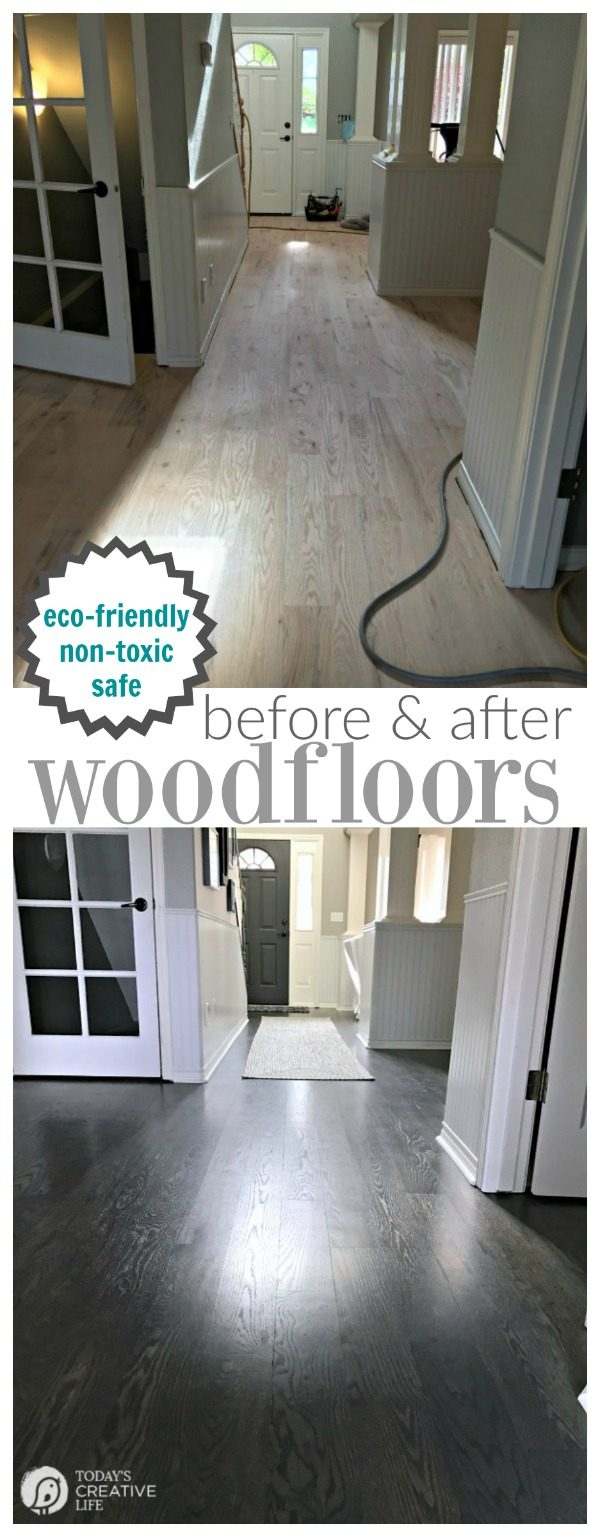 before and after photos of an eco friendly hardwood floor finish
