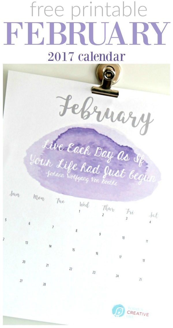 February 2017 Printable Calendar | Beautiful watercolor Printable calendar for February 2017 - Grab your free calendar on Today's Creative Life