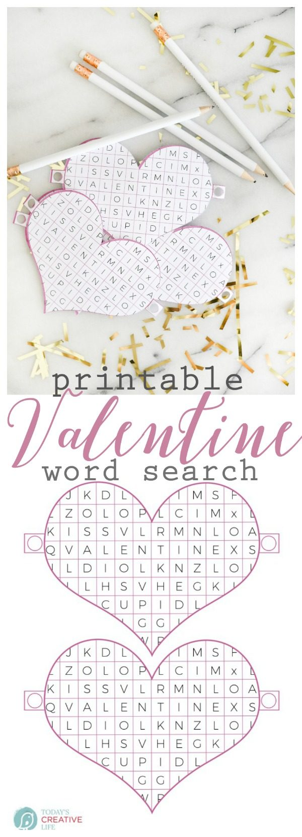 Valentine Word Search Printable | Free printable Valentine's Day ideas great for the classroom. Non-food ideas for Valentines. Cricut Craft Ideas | Download your free copy on TodaysCreativeLIfe.com Click the photo to visit.
