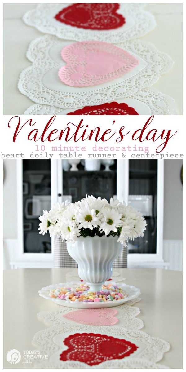 10 Minute Valentines Table Decor | create a quick, simple and easy Valentine's Day decorations tablescape centerpiece with a heart shape doily table runner, conversation hearts and daisies. See more on Today's Creative Life.