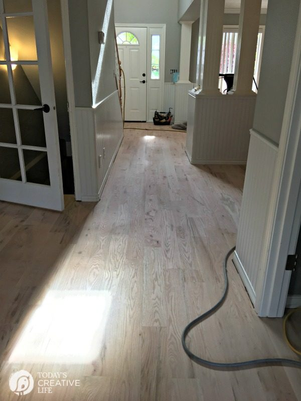 Eco-Friendly finish on hardwood floors, before staining