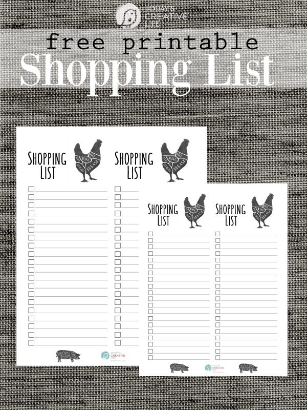Printable Shopping List TodaysCreativeLife
