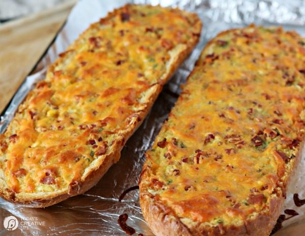 Bacon Cheddar French Bread | Turn this french bread loaf into a bacon cheesy appetizer.