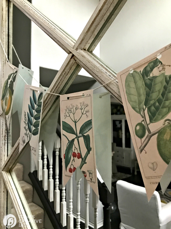 Free Printable Vintage Botanical Banner | Decorating with botanicals with this DIY banner. Or frame them! Click on the photo for your free download. TodaysCreativeLife.com
