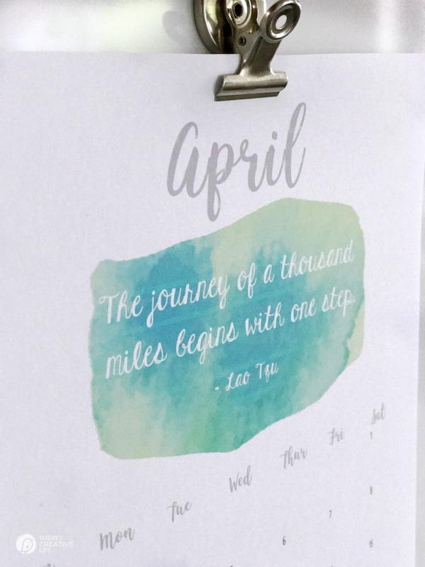2017 Printable April Calendar | Free Printable for April. Enjoy the watercolor design. Click the photo for your download from TodaysCreativeLife.com