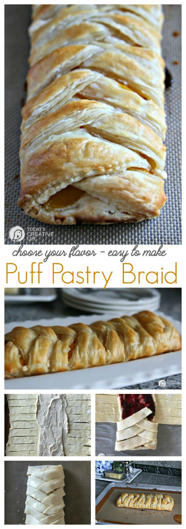 titled photo collage (and shown): fruit filled puff pastry braid