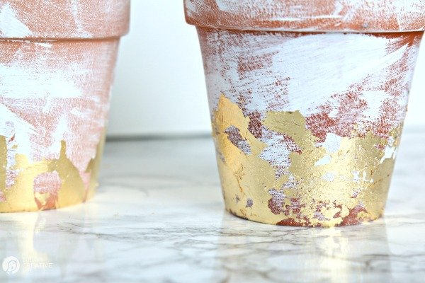 DIY Distressed Gold Leaf Terracotta Pots | Easy craft for decorating with gold leaf distressed flower pots
