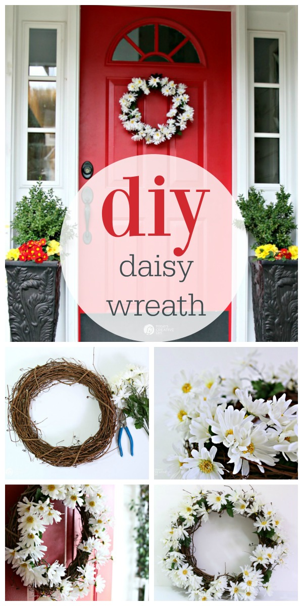DIY Daisy Wreath | Decorate your spring porch. How to make a spring wreath with faux daisies. Easy and quick. See the tutorial on TodaysCreativeLife.com