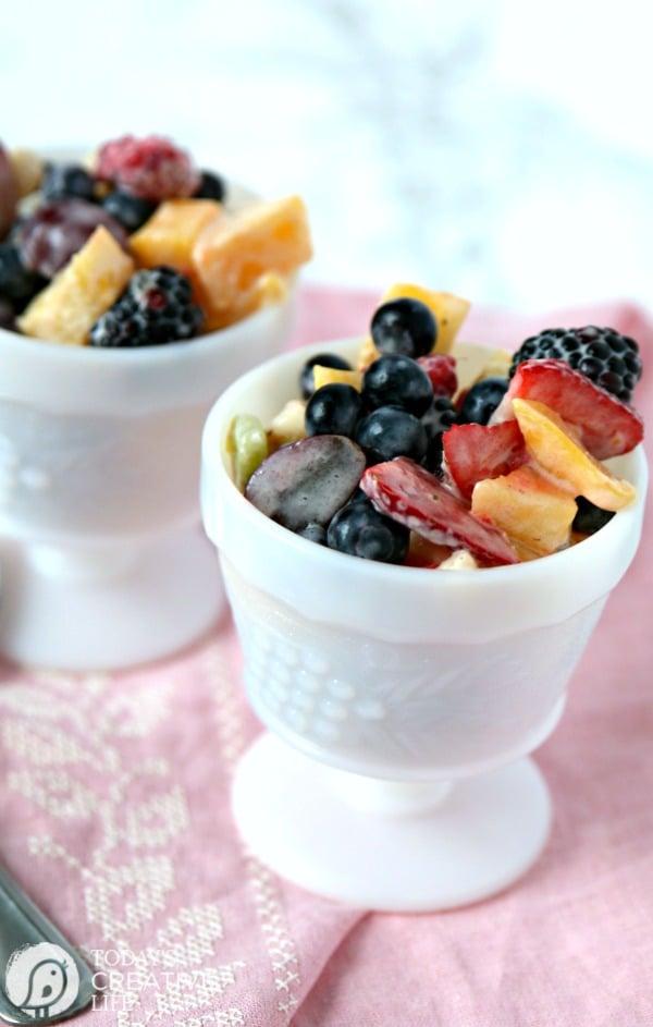 Fruit Salad Recipe | Enjoy this mixed fruit recipe with sour cream fruit salad dressing. Brunch recipe, summer salad recipe. TodaysCreativelife.com
