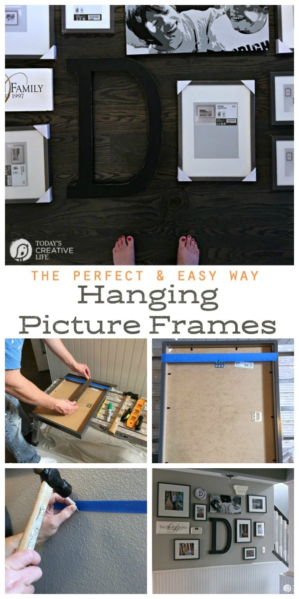 photo collage showing how to hang a picture the easy way