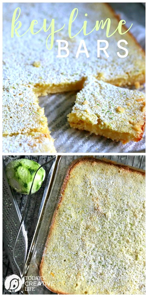 Key Lime Bars | Like Lemon bars, this classic Key Lime Bar recipe packs a pucker! This springtime dessert is great for Easter, bake sales, and picnics! Click the photo to find the recipe. TodaysCreativeLife.com
