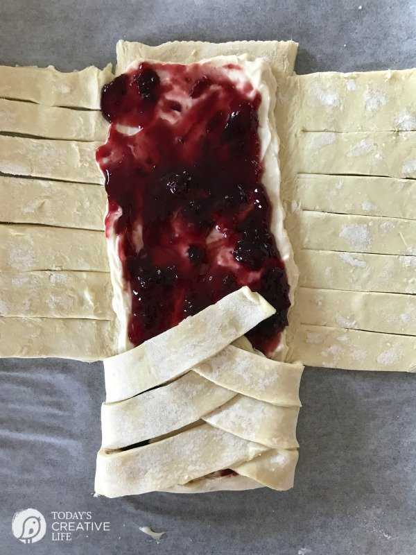 making a Puff Pastry Braid with cherry preserves