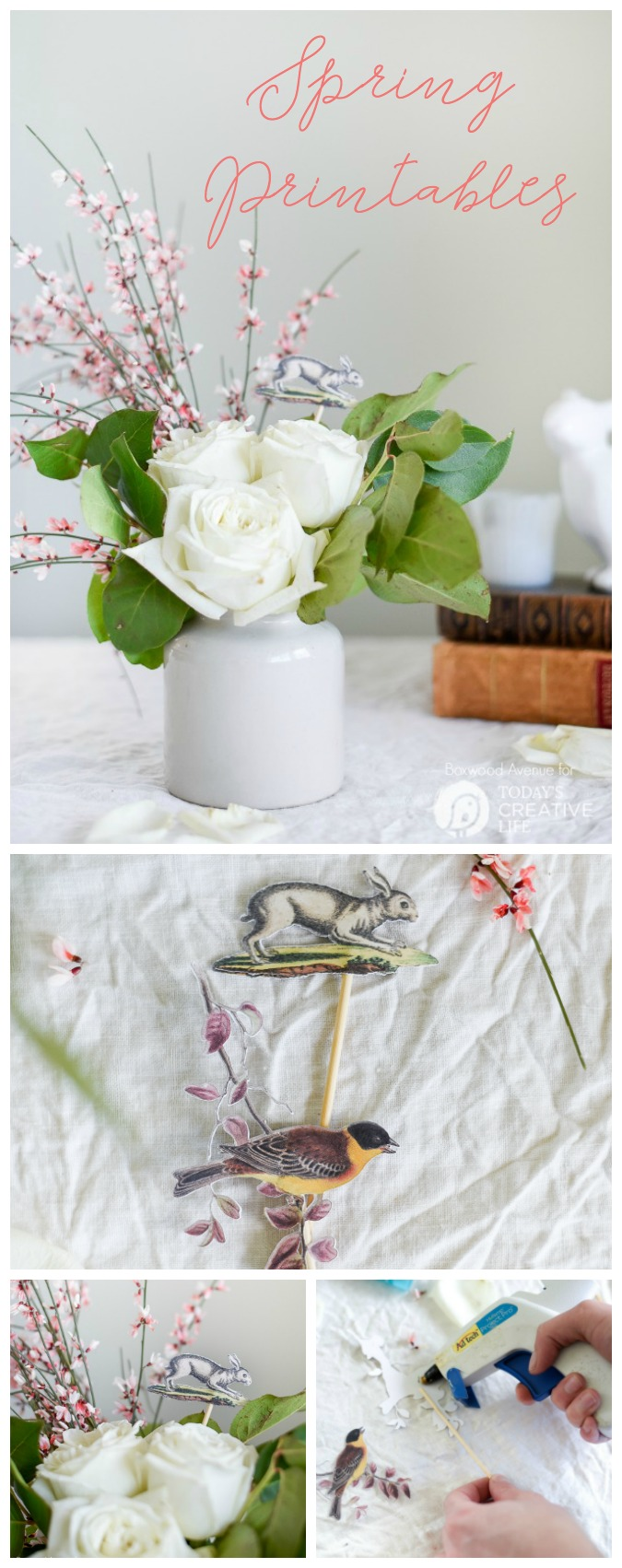 Easter Printables for Spring Bouquets | Spring decorating made easy! Use your Cricut Explore to make it more creative. Easy home decorating ideas for DIY spring decorating. Click the photo for your free printable. Today's Creative Life