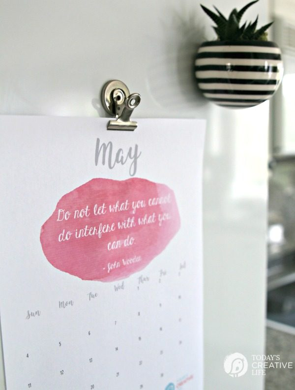 2017 Printable May Calendar | Free Printable. Print your own monthly calendar for May 2017. Inspirational Quotes | TodaysCreativeLife.com