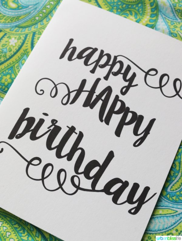 Cursive Font Birthday Card Printable