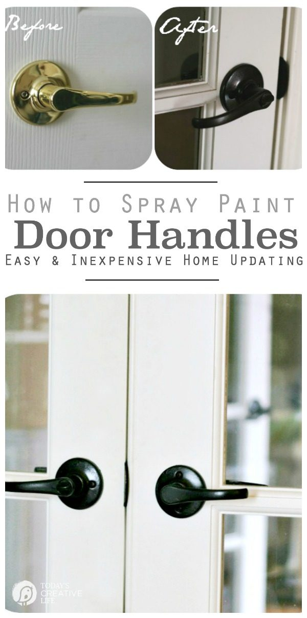 Spray Painting Door Knobs | Can you Paint Brass Door knobs | How to Paint Door Knobs | update brass door hardware with spray paint. Easy DIY home updates. Step by step instructions on Today's Creative Life