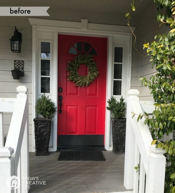 Front Porch Ideas | Before and After - Small front porch simple decorating ideas for spring. TodaysCreativeLife.com