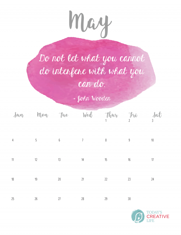Calendar Quotes For May : Printable may calendar today s creative life