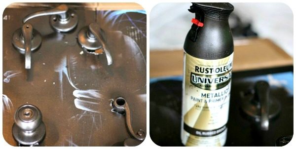 Rust-Oleum Universal Paint and Primer for spray painting door knobs. Tutorial on TodaysCreativeLife.com