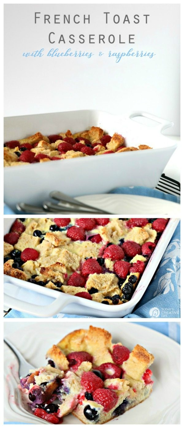 French Toast Casserole with raspberries and blueberries.