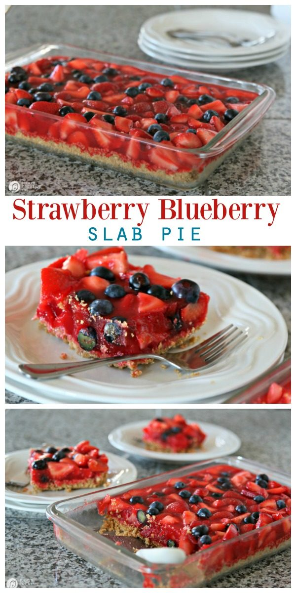Slab Strawberry Pie Recipe photo collage. Jello Pie made in a glass casserole dish and served on a white plate.