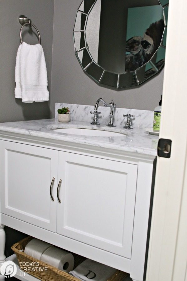 Vanity For Small Bathroom Powder Room Vanities and Ideas | Small Powder room Bathroom makeover. Vanity  ideas for a