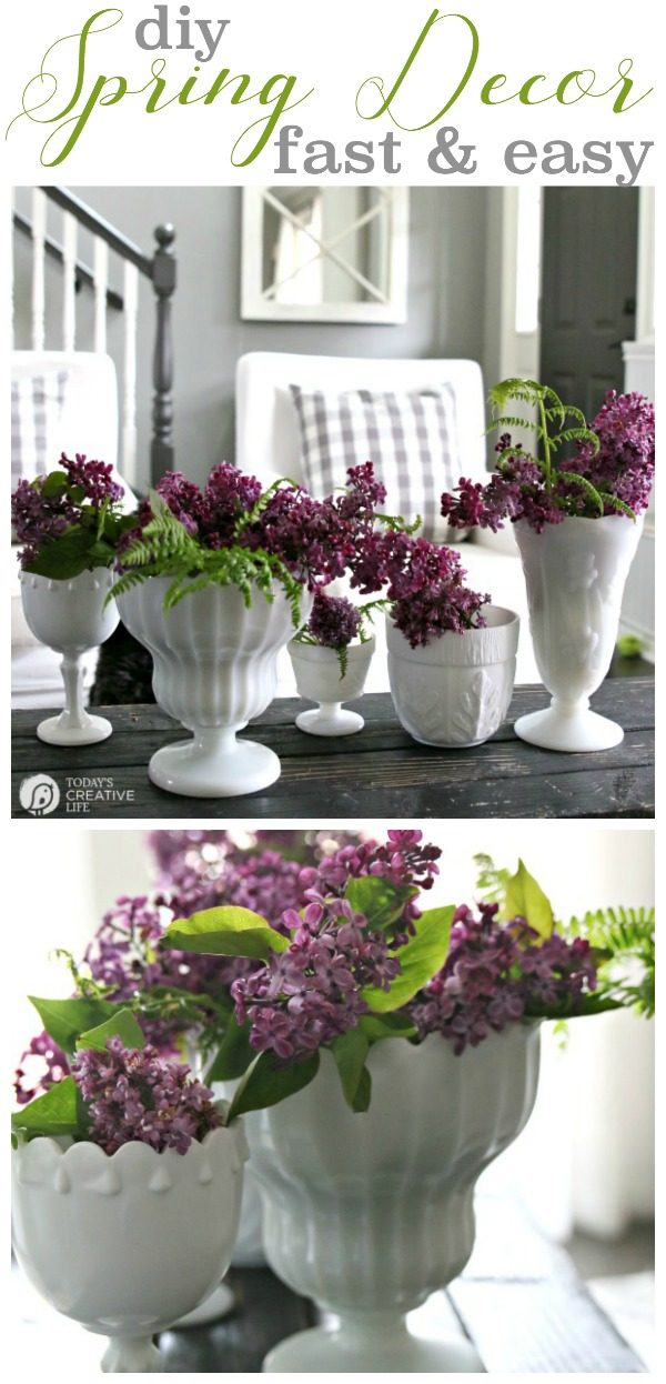 DIY Spring Decor | Fast and easy home decorating for spring! Simple ideas for stylish decor. Decorating with Lilacs. Click the photo to see more! TodaysCreativeLife.com