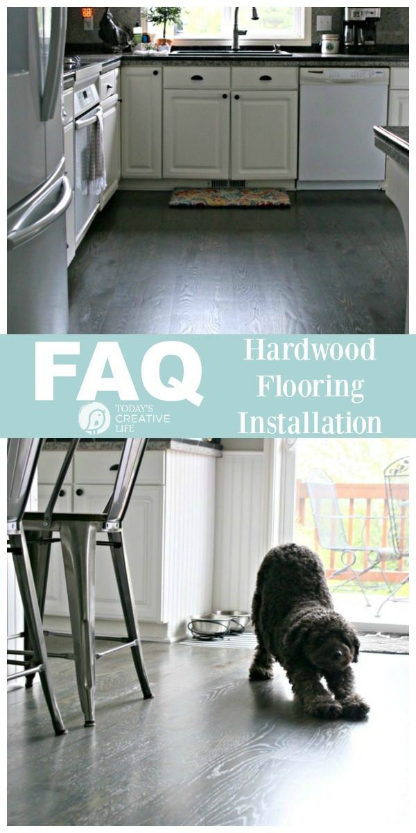 Hardwood Flooring Installation FAQ | What you need to know before refinishing or installing Hardwood Flooring. Find out the difference between waterborne and oil based. Non-toxic flooring. TodaysCreativeLife.com