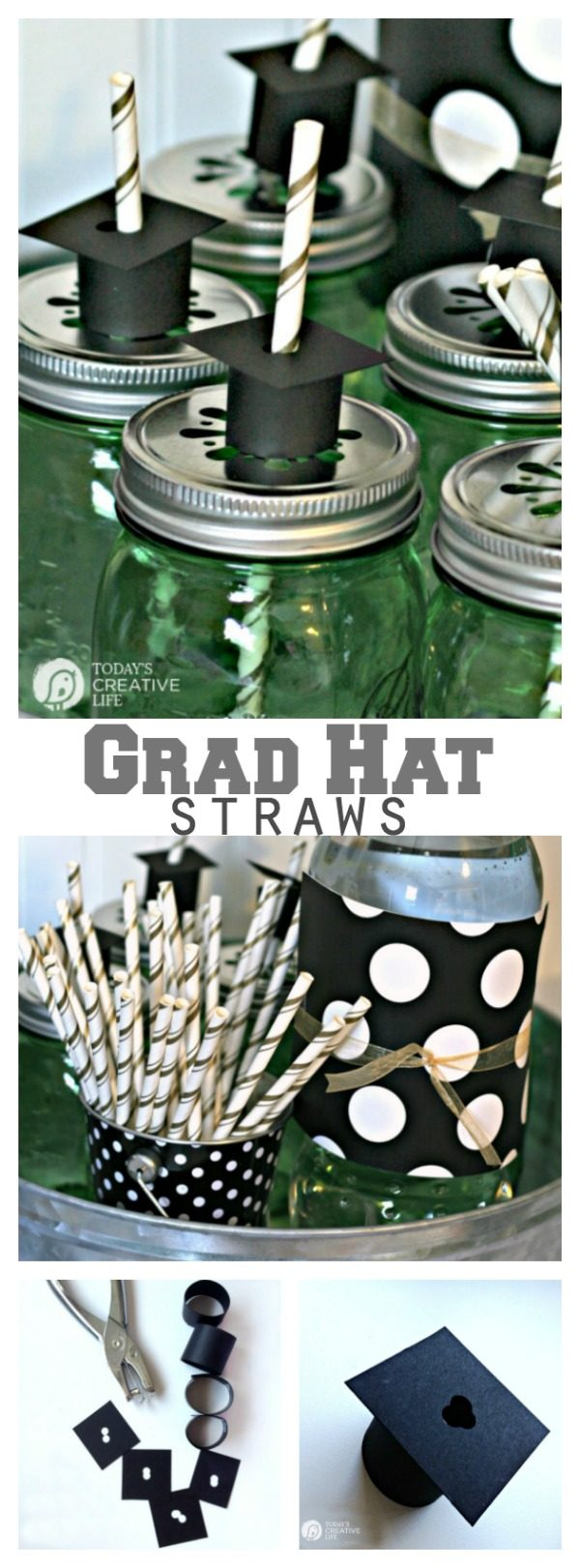 titled photo (and shown): Graduation hat drinking straws